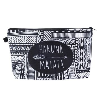 Medium Black/White Hakuna Matata Tribal Printed Cosmetic Makeup Bag