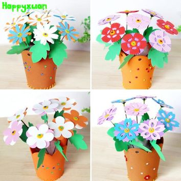 Happyxuan 6pcs EVA Simulation Flower Pots Kindergarten Children Diy Art Craft Kits Material Creative Education Toys for Girls