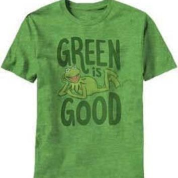 Muppets Kermit the Frog Green is Good Adult Heather Green T-shirt