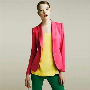 women Europe  America candy color lining stripe blazer a small buckle cultivating long-sleeved blazer jacket