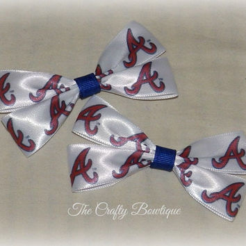 Atlanta Braves ~ Clippie Pigtail Hair Bow Set ~ Red, Blue and White ~ Small Hair Bows ~ Sports Team Bows ~ Baseball Bows ~ World Series