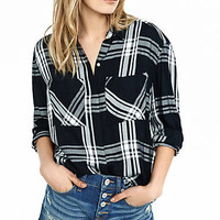 Black And White Plaid Oversized Shirt from EXPRESS