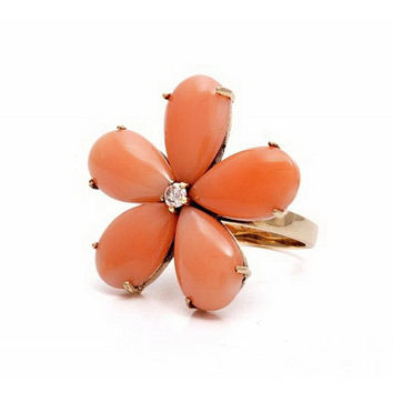 Coral Ring, Coral Diamond Flower Ring, 21k Gold, Estate Vintage, Mid Century Modernist Salmon Coral, Mothers Day, Gifts for Her