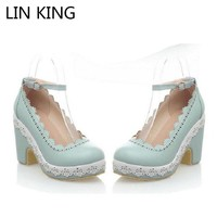 LIN KING Fashion PU Lolita Shoes Summer Women Shallow Mouth Ankle Straps Pumps Platform Square Heels Cos Princess Shoes