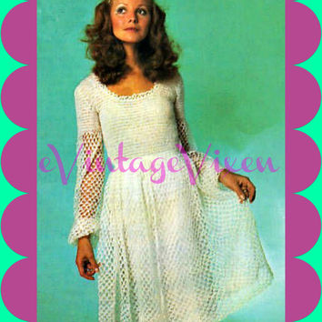 INSTANT DOWNLOAD-1960s Boho Bride-Vintage Crochet Pattern-Retro Dress-Beautiful Fairy Dream Dress-Clubbing-Party-Festival-Summer-Resort