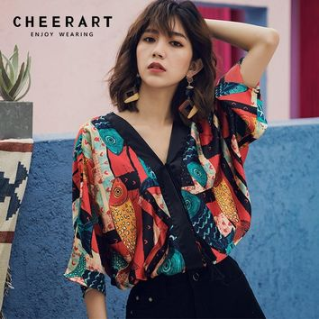 Cheerart Bohemian Ethnic Style Womens Crop Tops And Blouse V Neck Beach Top Vintage Print Summer Loose Satin Blouse Holiday Wear