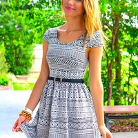 Black & White Print Fit and Flare Dress with Cap Sleeves
