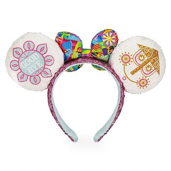 Disney Parks It's a Small World Minnie Sequined Ear Headband with Bow New Tag