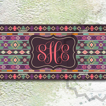 Southwest - ing girly mix tribal pattern - Andes Personalized License plate ,  aztec license plate, front car tag - 431