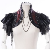 Cosplay Dolly Nana Punk Rock Gothic Cyber Mini Jacket Shirt Cape 21142 Black/red