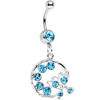 Aqua Gem Wreath and Butterfly Dangle Belly Ring | Body Candy Body Jewelry