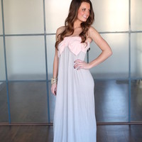 MVB Strapless Bow Maxi Dress Peach/Khaki - Modern Vintage Boutique