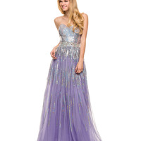 Lilac Sequin Strapless Sweetheart Dress 2015 Prom Dresses