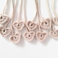 Crochet heart tags - set of 10 - white heart appliques, crochet embellishments, bookmarks, ornaments, decorations