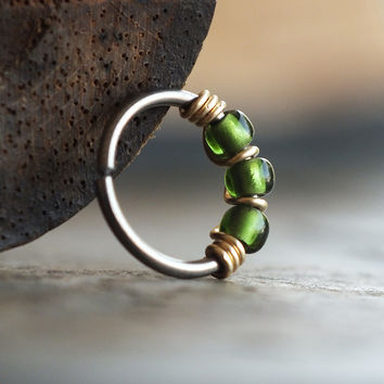 Evergreen, Beaded Nose Ring Hoop