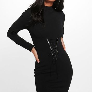 Isobel Corset Waist High Neck Bodycon Dress | Boohoo