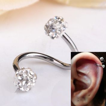 1 PC S Shape Ear Labret Ring Surgical Stainless Steel Crystal Double Balls Twisted Helix Cartilage Earring Piercing Body Gauge 1