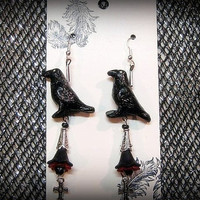 """Halloween Earrings, Gothic Earrings,Gothic Crow Earrings, Silver Plated Crosses, Acrylic flowers Red and Black Handmade, """"One Of A Kind"""""""