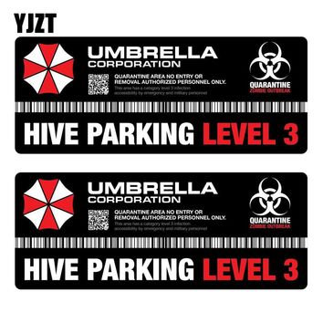 YJZT 14x5.8CM 2X UMBRELLA Hive Die Cut Resident Evil Decal Personality Retro-reflective Car Sticker C1-8003