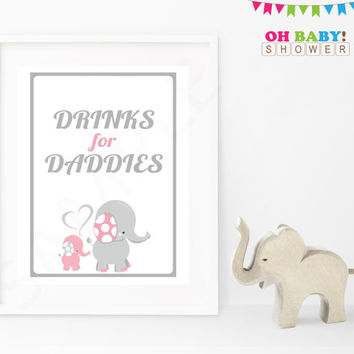 Drinks for Daddies Baby Shower Sign Pink and Gray Elephant Pink Elephant Baby Shower Decorations Printable Girl Instant Download EL0005-lp