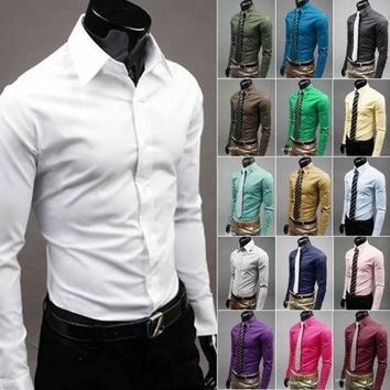 Men 's Fashion Candy Color Long - sleeved Slim Business Casual Shirt Men Luxury Stylish Casual Dress Slim Fit Casual Blouse