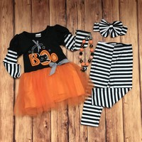 "RTS Girls Halloween ""BOO!!"" Tutu 2pc D10"