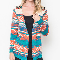 Caralase Rust & Turquoise Geometric Open Cardigan | zulily