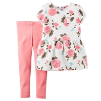 Carter's Floral Peplum Top & Leggings Set - Toddler Girl, Size:
