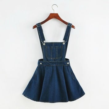 New 2017 Vintage Sweet Preppy Style Womens takedown braces mini Denim Skirt Ladies Girls A-line Suspender Skirt S M L