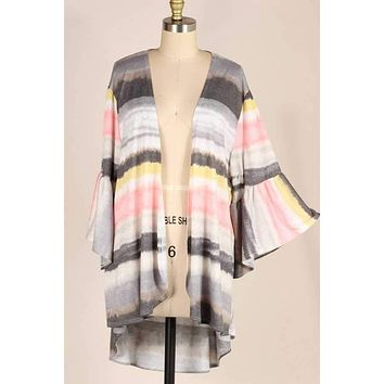 (pre-order) Bell Sleeve Brush Striped Kimono
