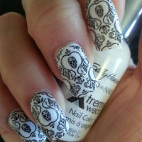 Fancy Skull Damask Nail Art Decals