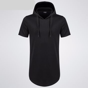 Cotton Hoodie Short Sleeves Men Longline Shirts Extra Long Oversized Tall Tees