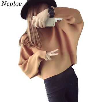 Neploe Autumn New Loose Korean Bat Sleeve Sweater Women Long Sleeve Pullover Knitwear Female Solid Short Thin Knit Tops 65981