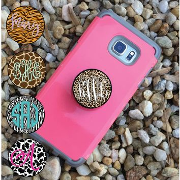 Monogram 2 in 1 Phone Holder Knob & Mount- Animal Print