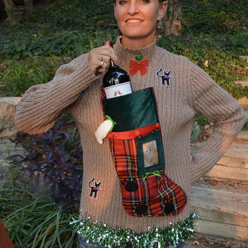 Wine Holder, Ugly Christmas Sweater, woman's Medium, personalize with cat photo, wine, novelty, one of a kind, cat, one of a kind