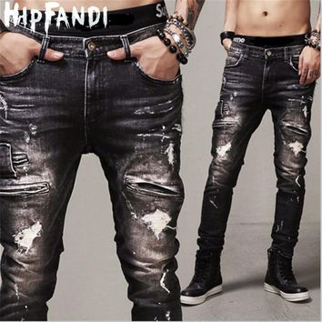HIPFANDI  Fashion Men black jeans slim fit Man denim Hip Hop Swag