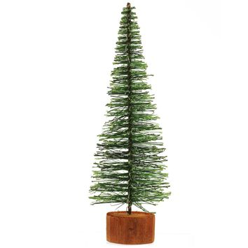 "9"" Green Bottle Brush Artificial Mini Pine Christmas Tree"