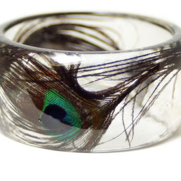 Feather Jewelry-  Peacock Feather Bangle- Black Jewelry- Resin Jewelry- Flower Bangle- Green Bracelet