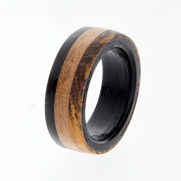 Wooden Wedding Band, Mens Wedding Ring, Ebony Ring, Wedding Jewelry, Custom Ring