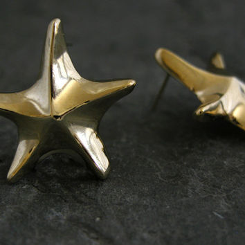 Gold Earrings,Gold Star Earrings ,Star Earring Studs,