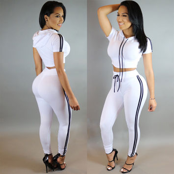 White Stripe Detail Hooded Top Drawstring Pants Set