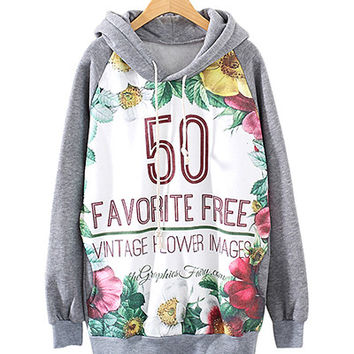 Grey Floral And Letters Print Hoodie With Pockets