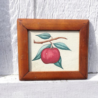 Watercolor Fruit Paintings Vintage Kitchen