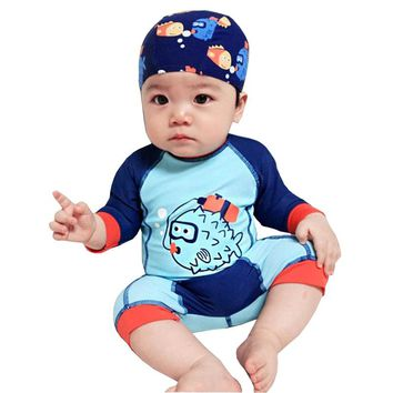 GI FOREVER Long Sleeve Children One Piece Suit With Cap Boy Swimwear 2018 Cute Fish Print Swimsuit Bathing Suit Maillot De Bai