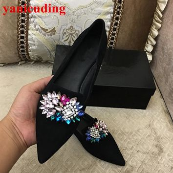 Pointed Toe Kid Suede Women Flats Low Top Loafers Colorful Crystal Embellished New Brand Wedding Party Star Runway Shoes Slip On