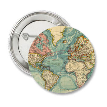 Vintage Map Pinback Button World Map Magnet Classic Travel Map Pin North America Map South America Map Badge Africa Europe Map Traveler Pin