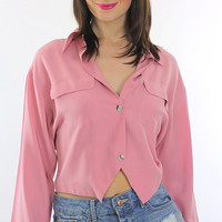 Vintage 80s Boho  long sleeve pink crop top shirt