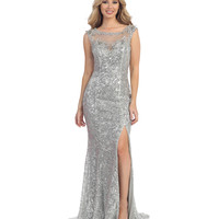 Silver Sequin Open Back Sheer Slit Dress Prom 2015
