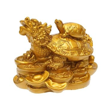 Traditional Gold Resin Feng Shui Dragon Turtle Tortoise Statue Figurine Coin Money Wealth Ornaments For Home Office