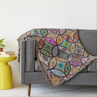 Floral mandalas creative circles art pattern throw blanket